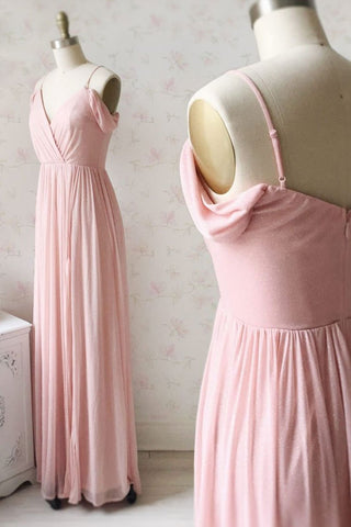 Simple V Neck Long Pink Chiffon Open Back Prom Dress, Evening Dress