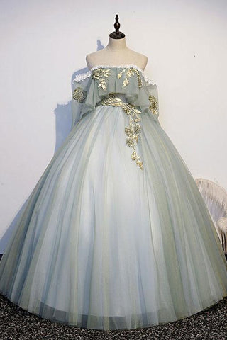 Light Green Tulle Lace Applique Long Sweet 16 Prom Dress, Evening Dresses