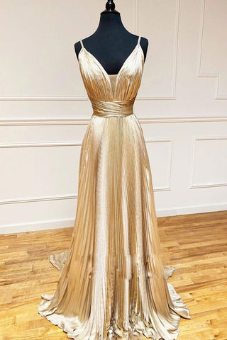 Champagne Satin V Neck Long Evening Dress Pleated Prom Dress, Party Gown