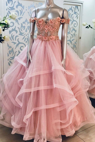 Pink 3D Lace Applique Long Off Shoulder Sweet 16 Prom Dress, Evening Dresses