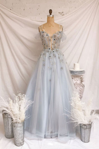 Baby Blue Tulle A Line Sweetheart Long Sweet16 Prom Dress, Girls Party Dress
