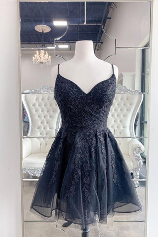 Black Tulle Lace Short Customize Lace Up Prom Dress, Party Dress