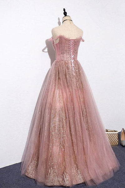 New Brand Pink Sequins Tulle Strapless Customize Long Prom Dress, Evening Dress