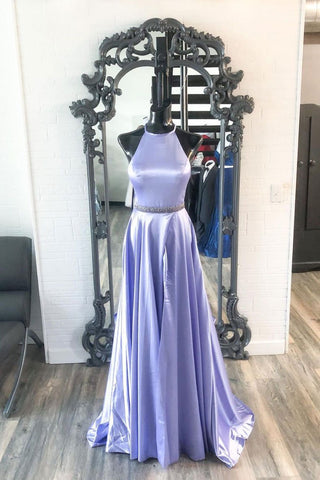 New Brand Lavender Satin A Line O Neck Long Prom Dress, Party Dresses