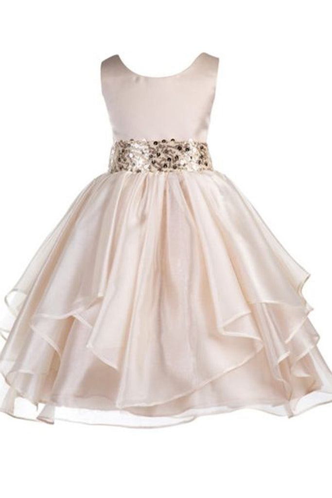 2018 evening gowns - Ivory organza sequins sash round neck A-line girls dress  with straps