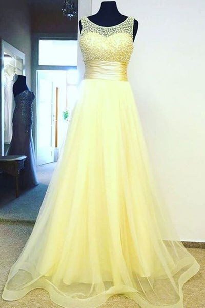 2018 evening gowns - Light yellow organza round neck see-through A-line beading long dresses