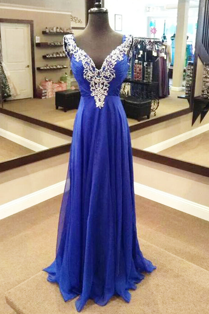 2018 evening gowns - Navy blue chiffon V-neck sequins beading long prom dresses, formal dresses
