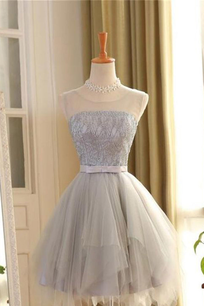 Gray tulle round neck lace A-line short dresses ,formal dress for teens - prom dresses 2018