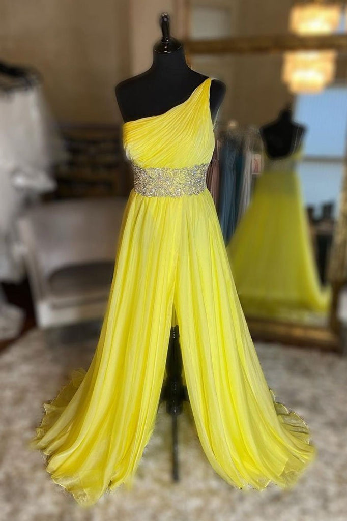 New Yellow Tulle One Shoulder Beaded Sequins Waistline Long Prom Dress, Party Dress