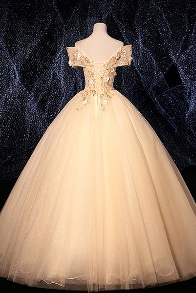 Champagne Tulle Lace Applique Off Shoulder Long Sweet 16 Prom Dress, Evening Dresses