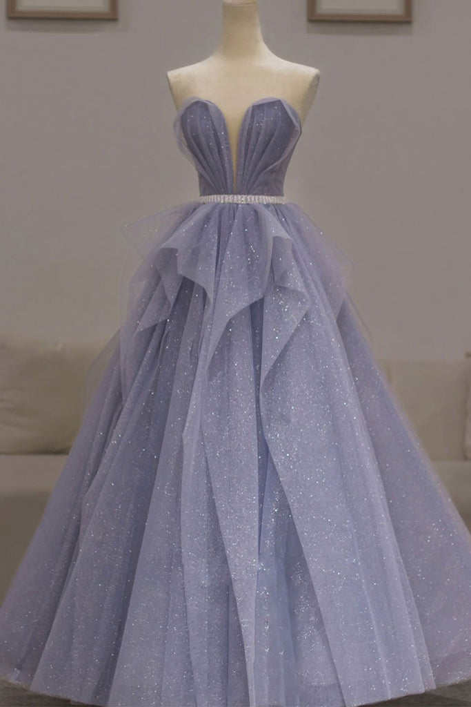 Lavender Tulle A Line Long Prom Dress, Evening Dress, Sweet 16 Prom Gown