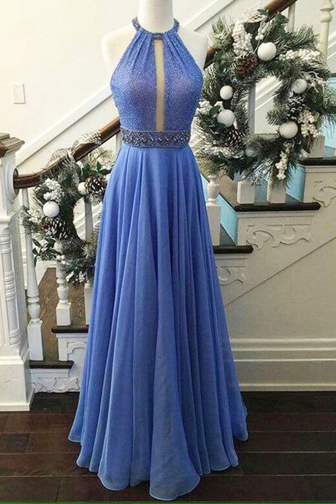 Sky blue chiffon sequins halter long evening dresses,summer dress - occasion dresses by Sweetheartgirls