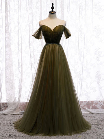 Simple Deep Green Tulle Off Shoulder Long Dress, Prom Dress, Customize Evening Dress