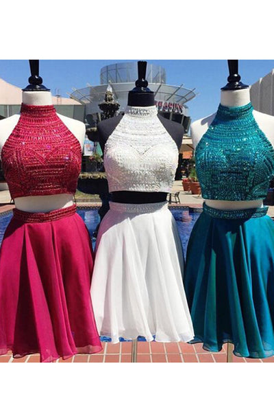 Beautiful chiffon two pieces beading sequins halter A-line short dresses for teens - prom dresses 2018
