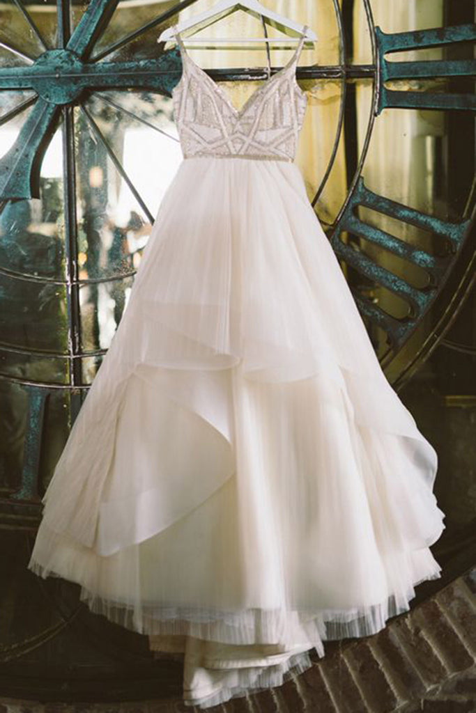 Sweet 16 Dresses | White tulle organza V-neck A-line long dresses,princess evening dresses