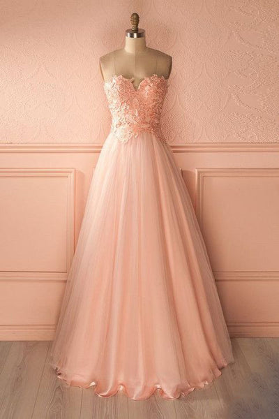 Sweet 16 Dresses | Princess peach tulle sweetheart lace top A-line long dress formal dresses
