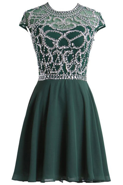 Green chiffon sequins beading A-line round neck A-line simple short prom dresses - Sweetheartgirls