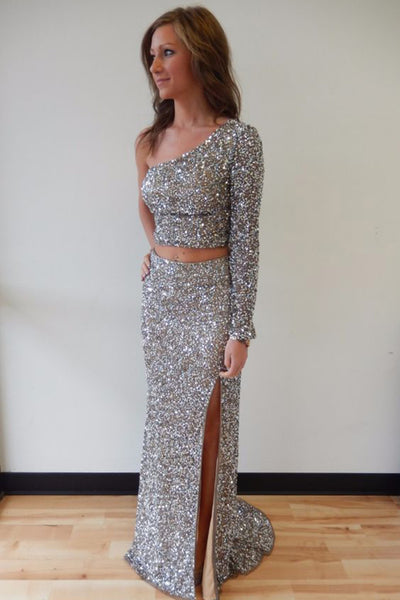 2018 evening gowns - Silver chiffon sequins two pieces one sleeves slim-line slit long prom dresses,evening dress