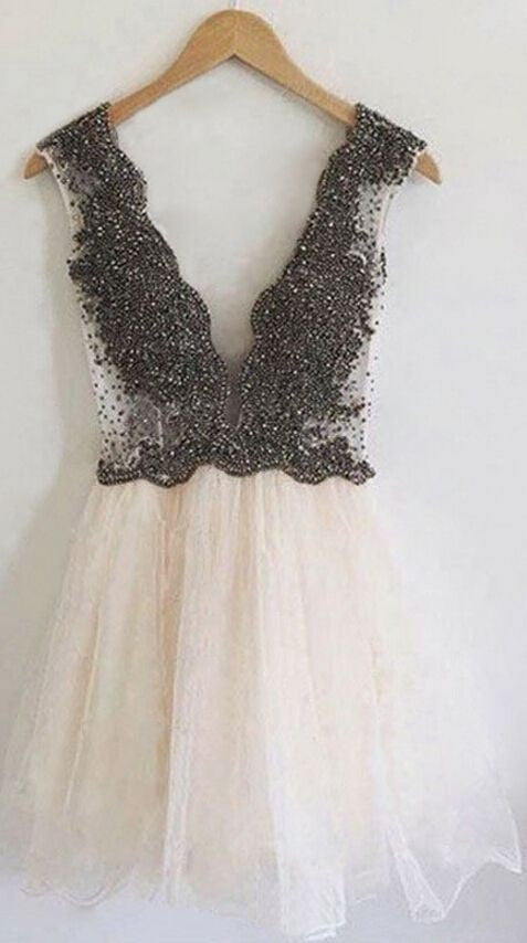 Ivory tulle lace deep V-neck sexy short party dress , graduation dress with straps - prom dresses 2018