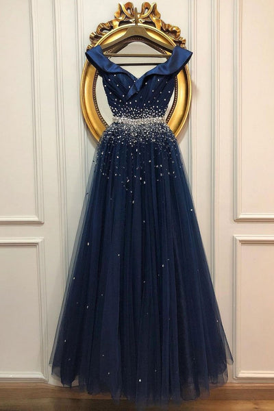 New Deep Blue Satin Tulle V Neck Long Beaded A Line Prom Dress, Formal Dresses