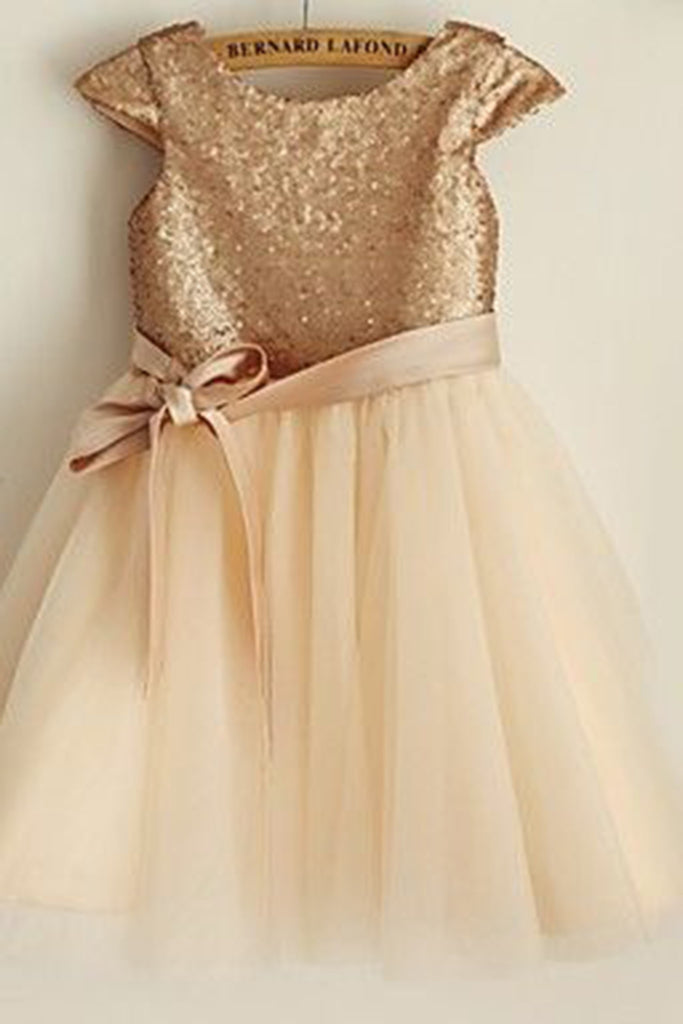 Ivory organza  sequins bowknot A-line cute girls dress  with straps - prom dresses 2018