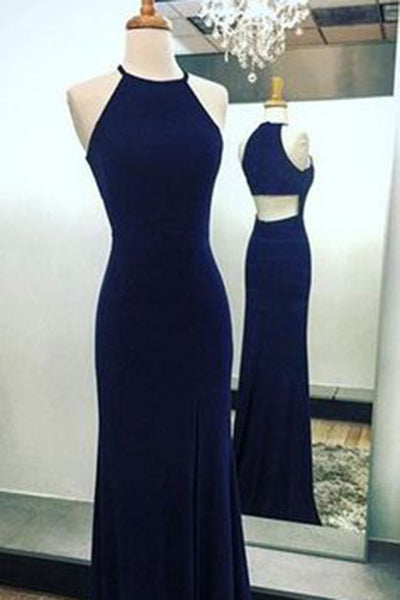 Dark blue chiffon slim-line O-neck simple cheap long evening dresses - occasion dresses by Sweetheartgirls