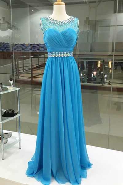 Light blue chiffon sequins round neck long prom dresses, evening dresses - prom dresses 2018