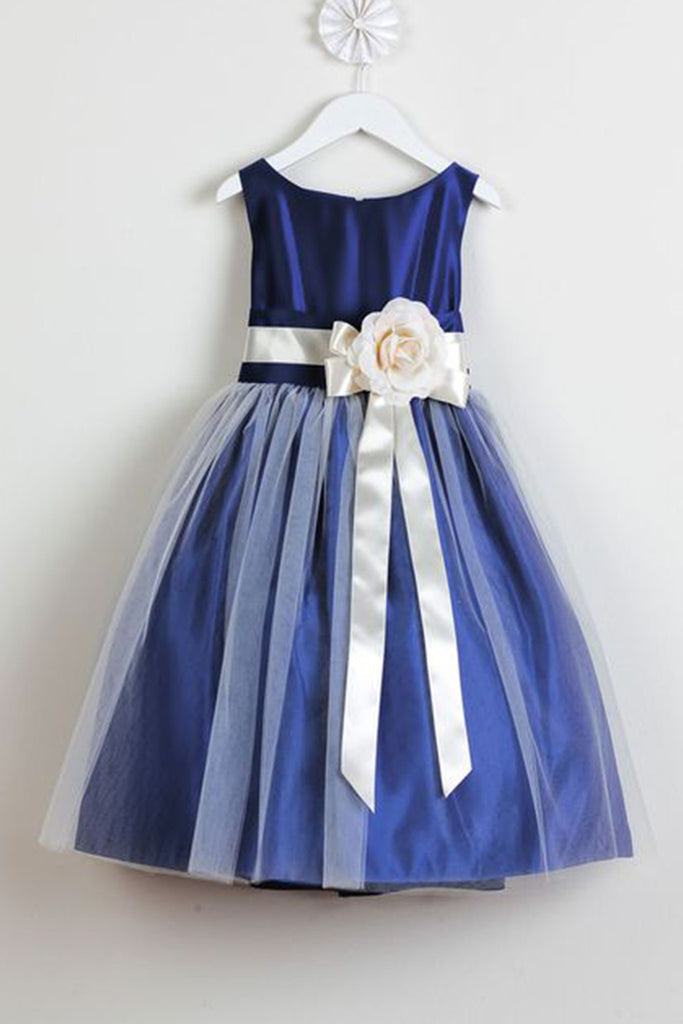 2018 evening gowns - Navy satins tulle handmade flowers round neck A-line girls dress  with straps