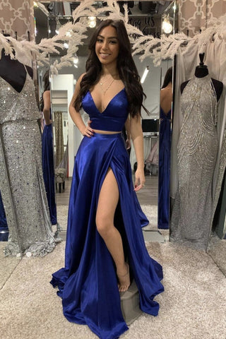 Royal Blue Satin Long Two Pieces Prom Dress, Homecoming Dress