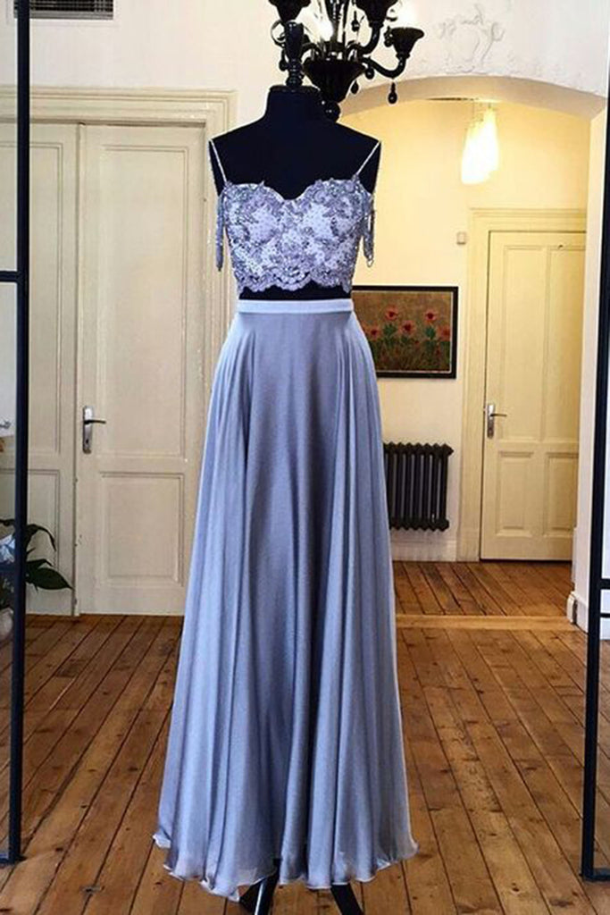 Sky blue chiffon two pieces lace top long evening dresses,summer dress - prom dresses 2018