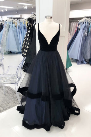Black Tulle V Neck Long Customize A Line Prom Dress, Evening Dresses