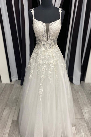 White Tulle Lace Spaghetti Straps Long Formal Dress Prom Dress, Customize Prom Gown
