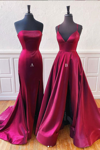 Simple New Burgundy Satin V Neck Long Customize Prom Dress Party Dress