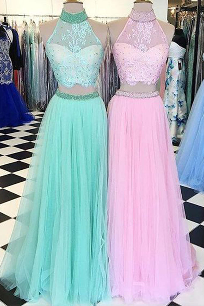 2019 Long Prom Dresses | Cute tulle two pieces lace halter long evening dresses,long prom dresses