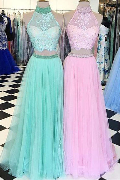 Cute tulle two pieces lace halter long evening dresses,long prom dresses - prom dresses 2018