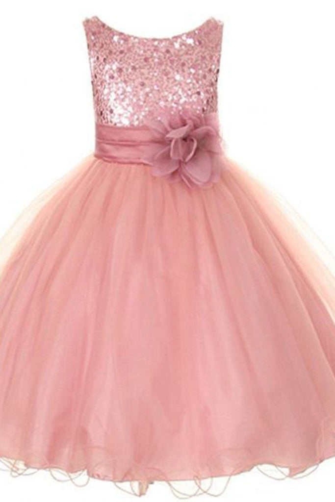 Sweet 16 Dresses | Shining peach organza sequins handmade flower A-line cute girls dress
