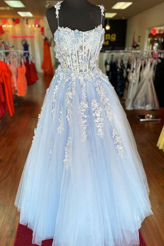 Baby Blue Tulle Lace Applique Long Dress Prom Dress Formal Dresses