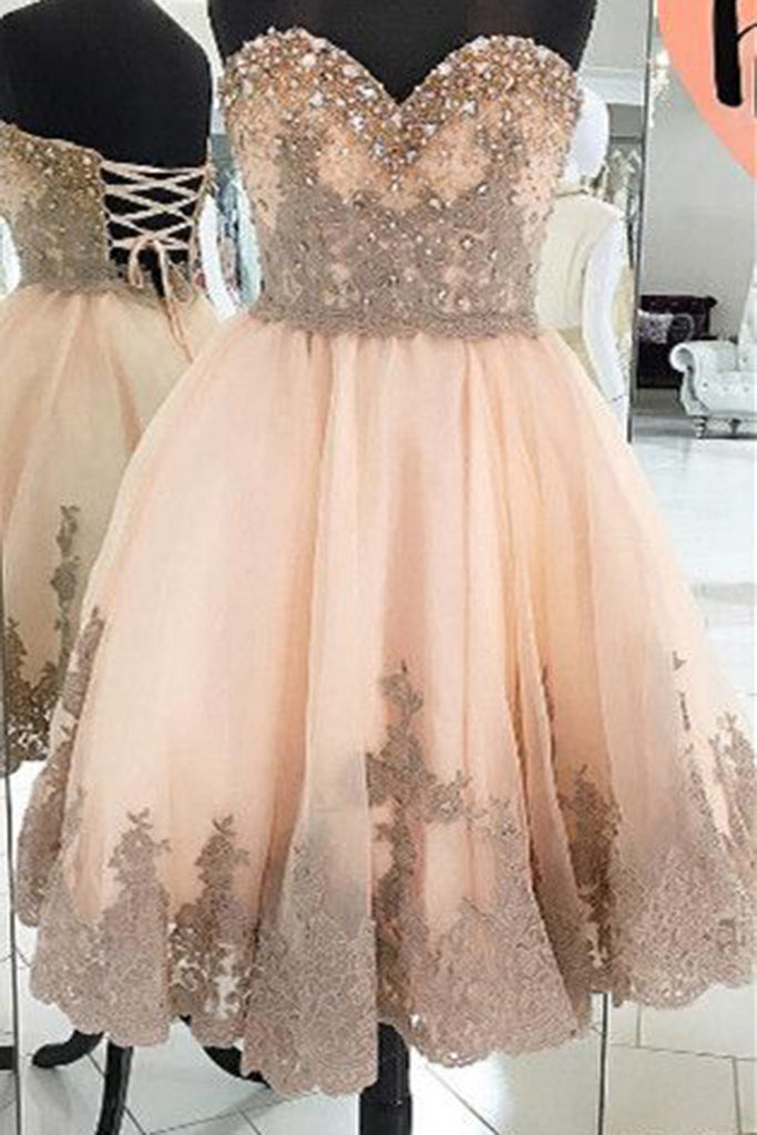 Sweet 16 Dresses | Champagne lace sweetheart pearl A-line prom dresses,short formal dresses for teens