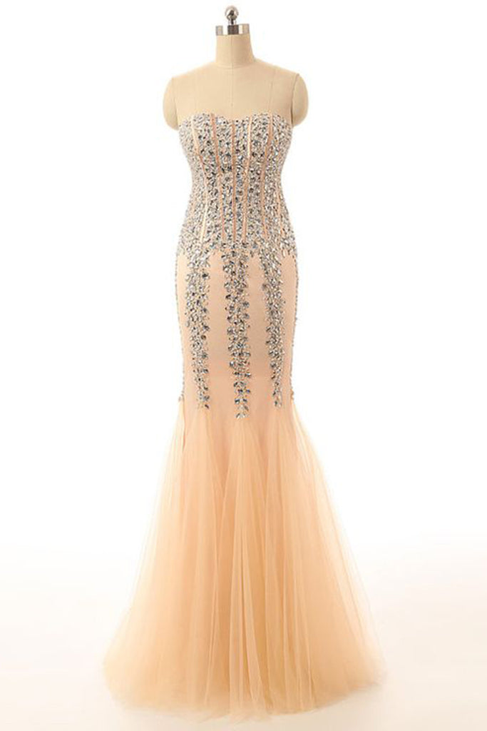 2018 evening gowns - Elegant ivory tulle sequins sweetheart mermaid long evening dresses ,strapless dress