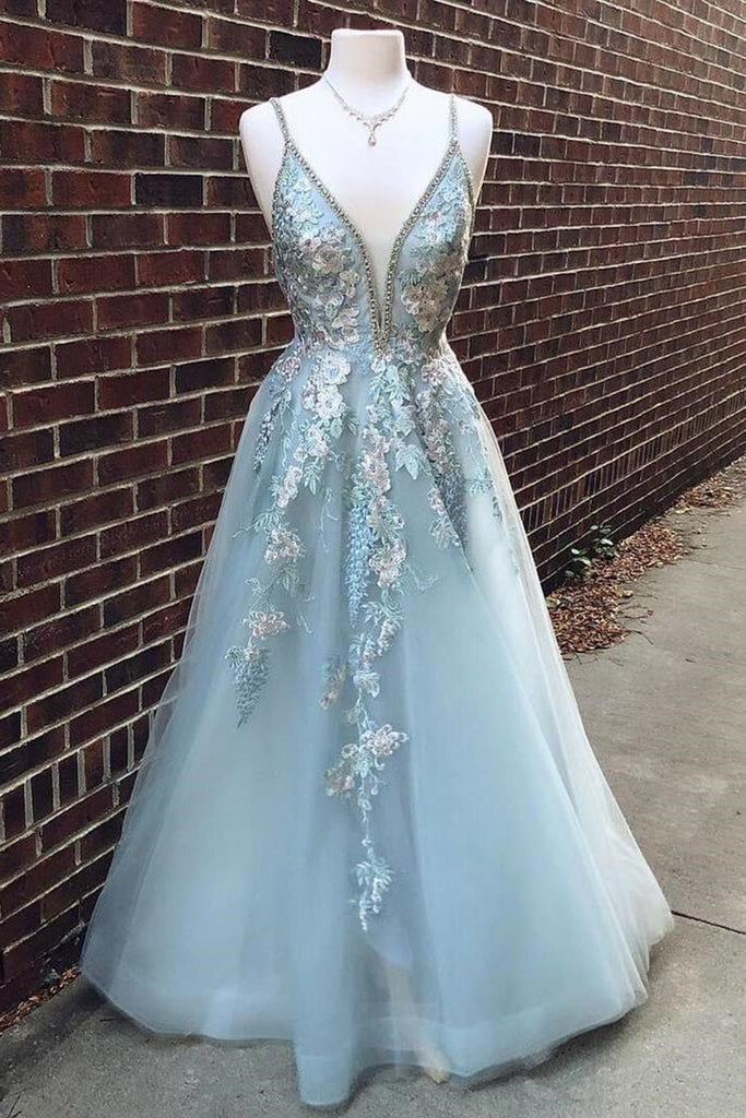 c12ddd4656 Home › Light Blue Tulle Floral Embroidery Lace A-line Spaghetti Strap Beaded  Senior Prom Dress. 2019 prom dress image
