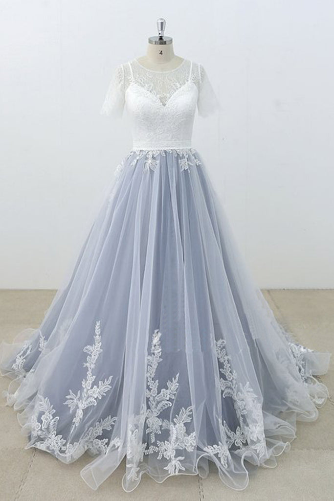 Blue Gray Tulle Ivory Lace Short Sleeve