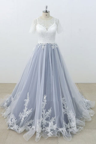 2019 Prom Dresses | Blue Gray Tulle Ivory Lace Short Sleeve Beach Wedding Dress, Long Pageant Prom Dress