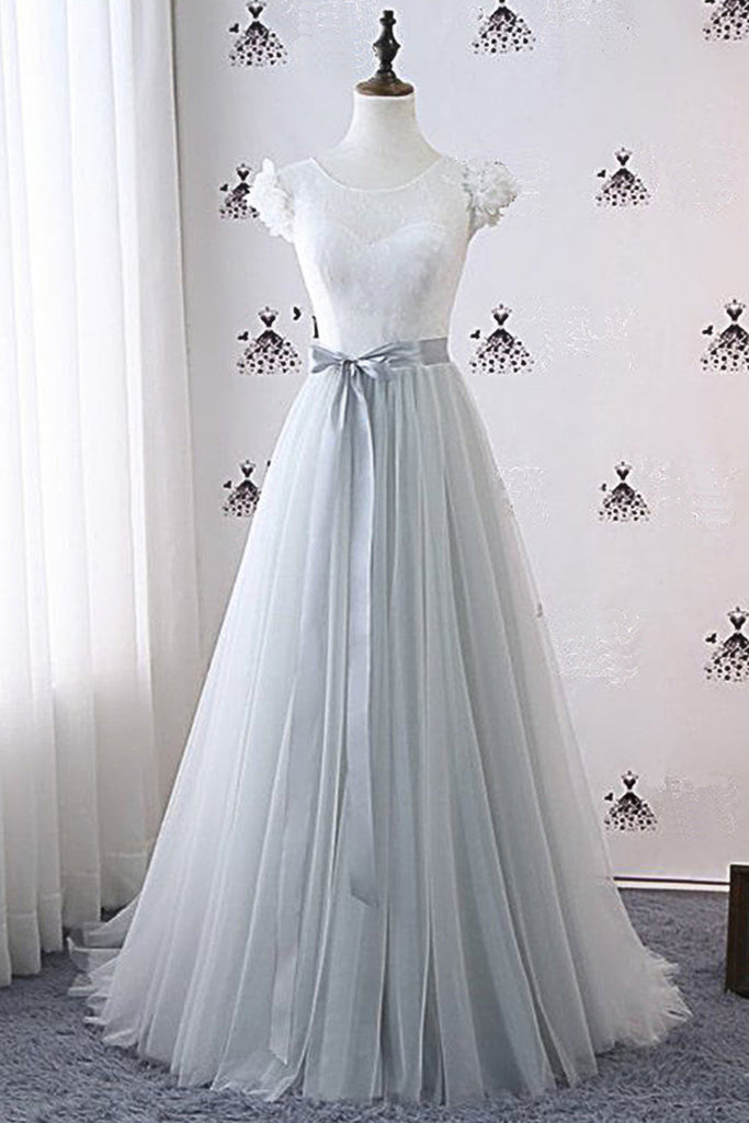 9c448973e5c3ec Gray Tulle White Lace A Line Long Cap Sleeve Prom Dress With Sash