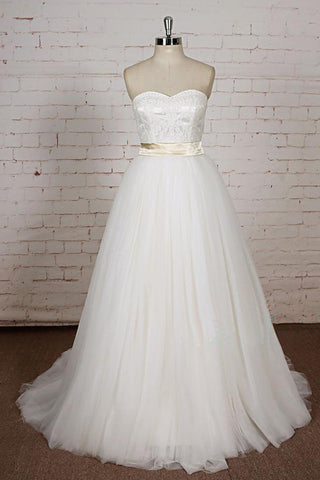 White Lace Tulle A Line Custom Made Formal Prom Dress, Simple Wedding Dress With Sash