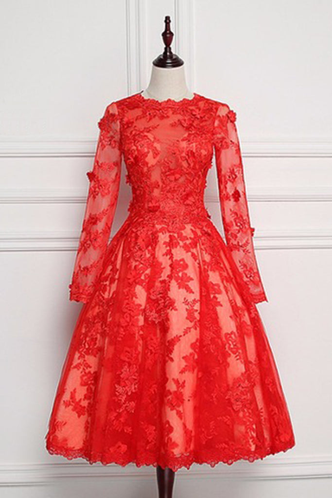 Sweet 16 Dresses | Red lace short evening dress with sleeves, long O neck short homecoming dress