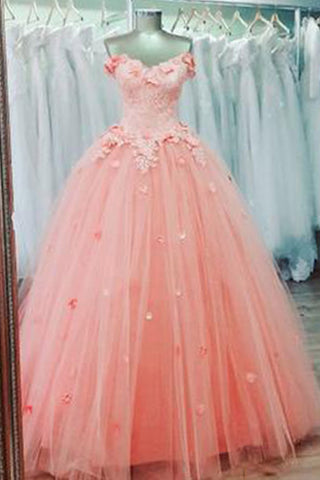 Pink tulle sweetheart neck long A-line evening dress with lace applique, pink formal dress