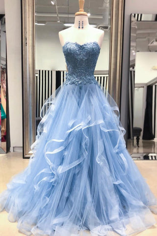 Sweetheart Blue Tulle Layered Long Prom Dress, Lace Evening dress