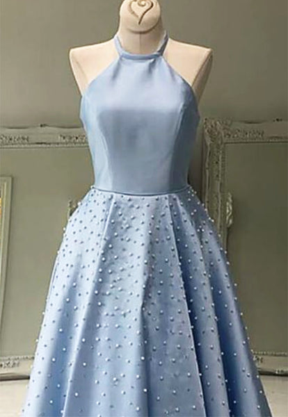 Sweet 16 Dresses | Baby Blue Satin Strapless Long Pearl Prom Dress For Teens, Evening Dress