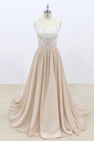 2019 Long Prom Dresses | Champagne Chiffon Sheer Back Sweep Train Formal Prom Dress, Lace Evening Dress