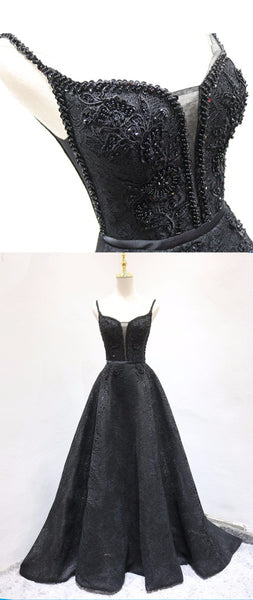 Sweet 16 Dresses | Black lace V neck long A line beaded evening dress, black prom dress